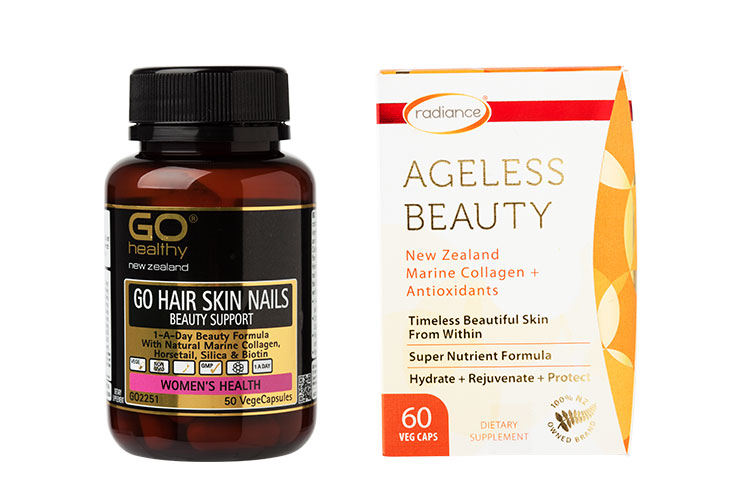 1. Go Healthy Go Hair Skin Nails Beauty Support $30. 2. Radiance Ageless Beauty, $80.