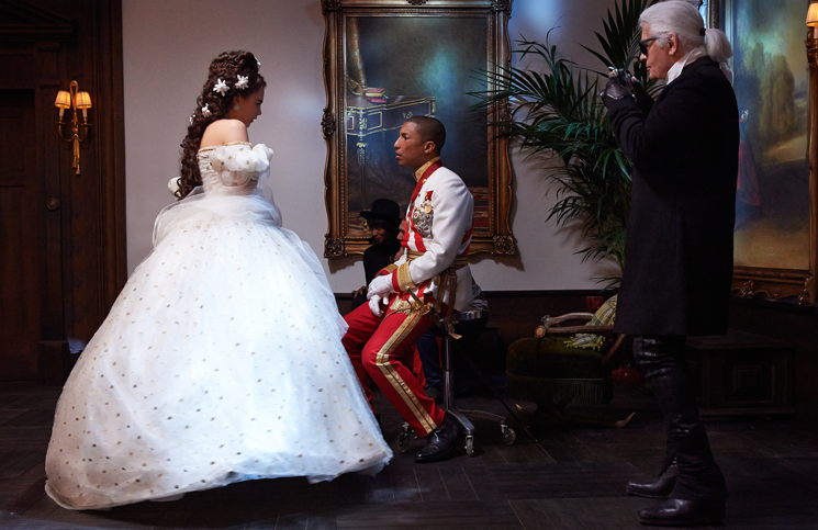 Cara Delevingne, Pharrell Williams and Karl Lagerfeld on set for a new Chanel short film. Photo/Supplied