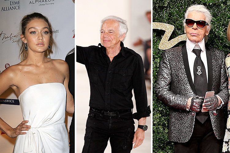 Gigi Hadid, Ralph Lauren and Karl Lagerfeld were all born with different monikers. Photos / Getty Images