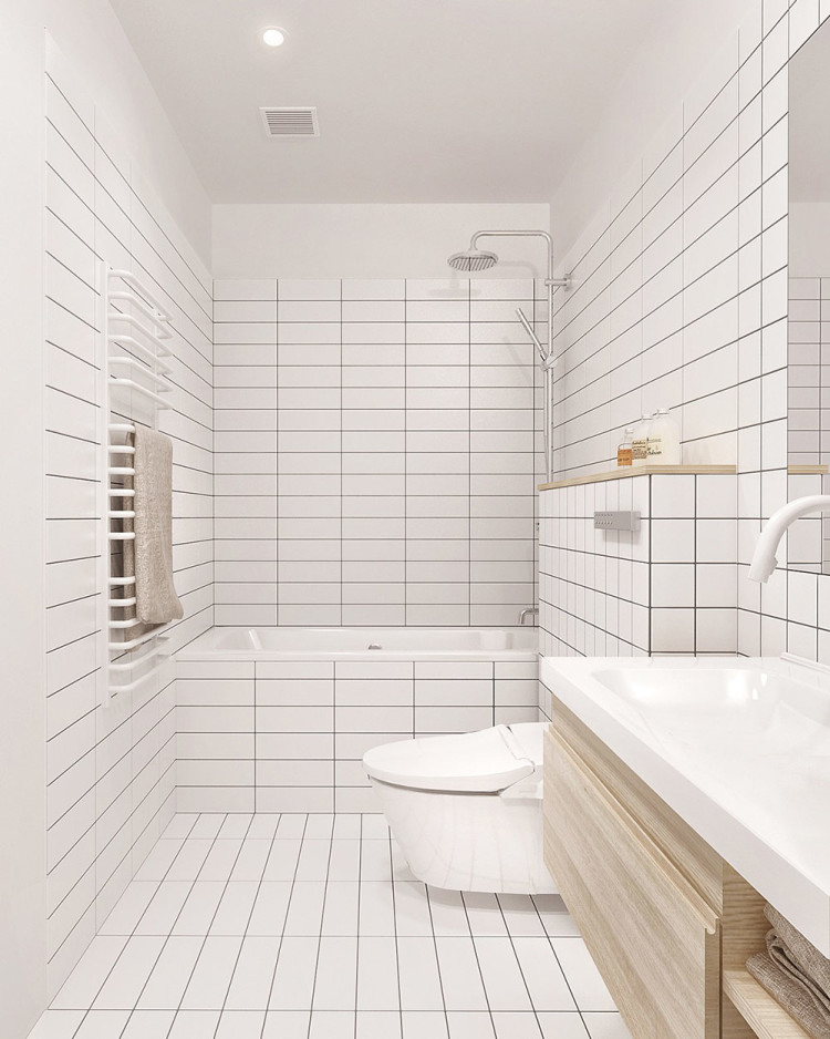 Bathroom with floor-to-ceiling white subway tiles