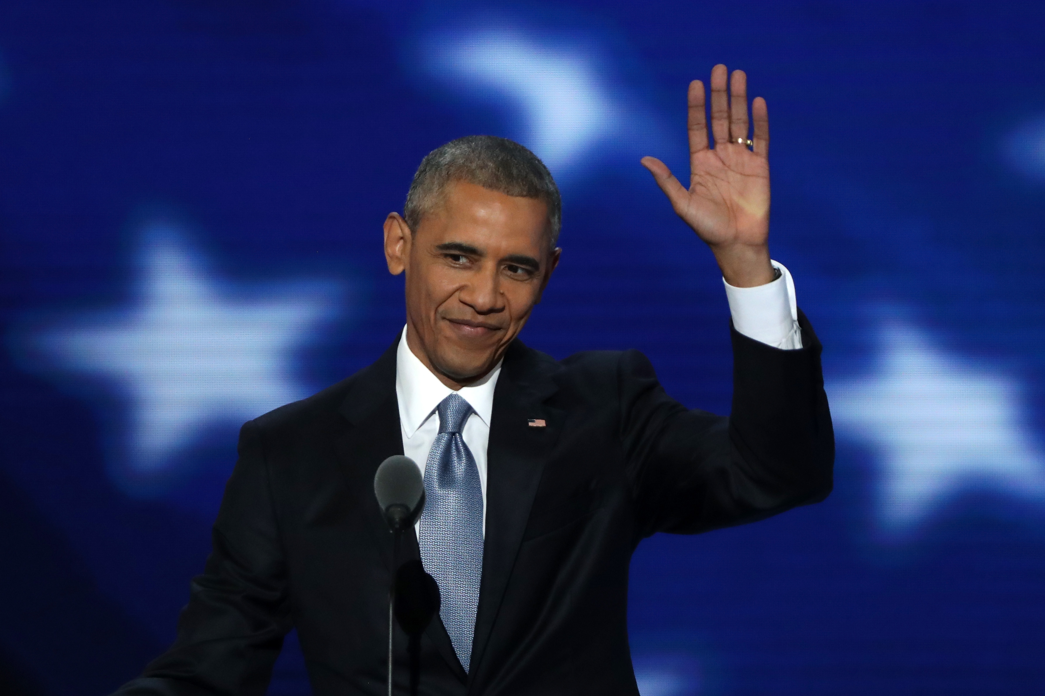 PHILADELPHIA, PA - JULY 27: US President Barack Obama acknowledges the crowd as he arrives on stage to deliver remarks on the third day of the Democratic National Convention at the Wells Fargo Center, July 27, 2016 in Philadelphia, Pennsylvania. Democratic presidential candidate Hillary Clinton received the number of votes needed to secure the party's nomination. An estimated 50,000 people are expected in Philadelphia, including hundreds of protesters and members of the media. The four-day Democratic National Convention kicked off July 25. (Photo by Alex Wong/Getty Images)