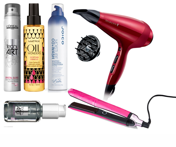 TRY: 1. L'Oréal Professionnel Tecni.Art Crystal Gloss, $35. 2. Matrix Oil Wonders Egyptian Hibiscus Colour Caring Oil, $24. 3. Joico Moisture Co+ Wash Whipped Cleansing Conditioner, $34. 4. Remington Silk Ceramic Hairdryer, $150. 5. L'Oréal Professionnel Tecni.Art Liss Control+ Smoothing Serum, $35. 6. ghd Limited Edition Platinum Electric Pink Styler, $360.