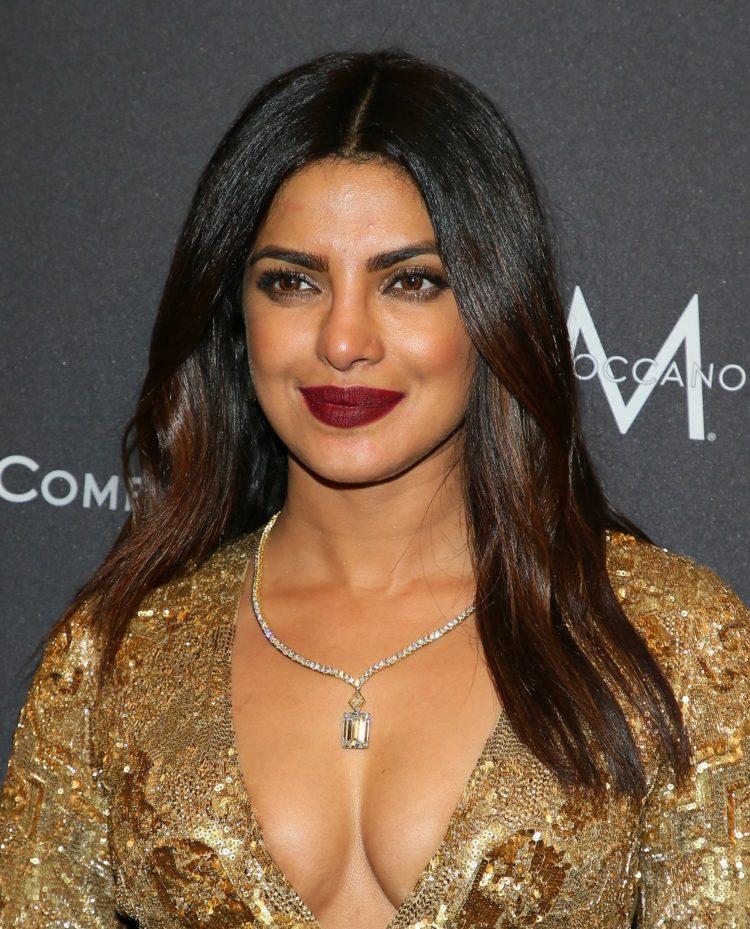 Priyanka Chopra wears plum lipstick at the 2017 Golden Globes