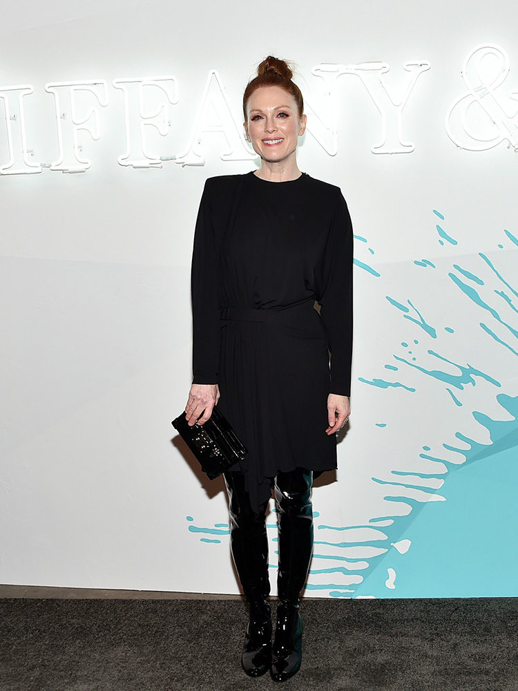 Julianne Moore attends a Tiffany & Co event in Louis Vuitton.