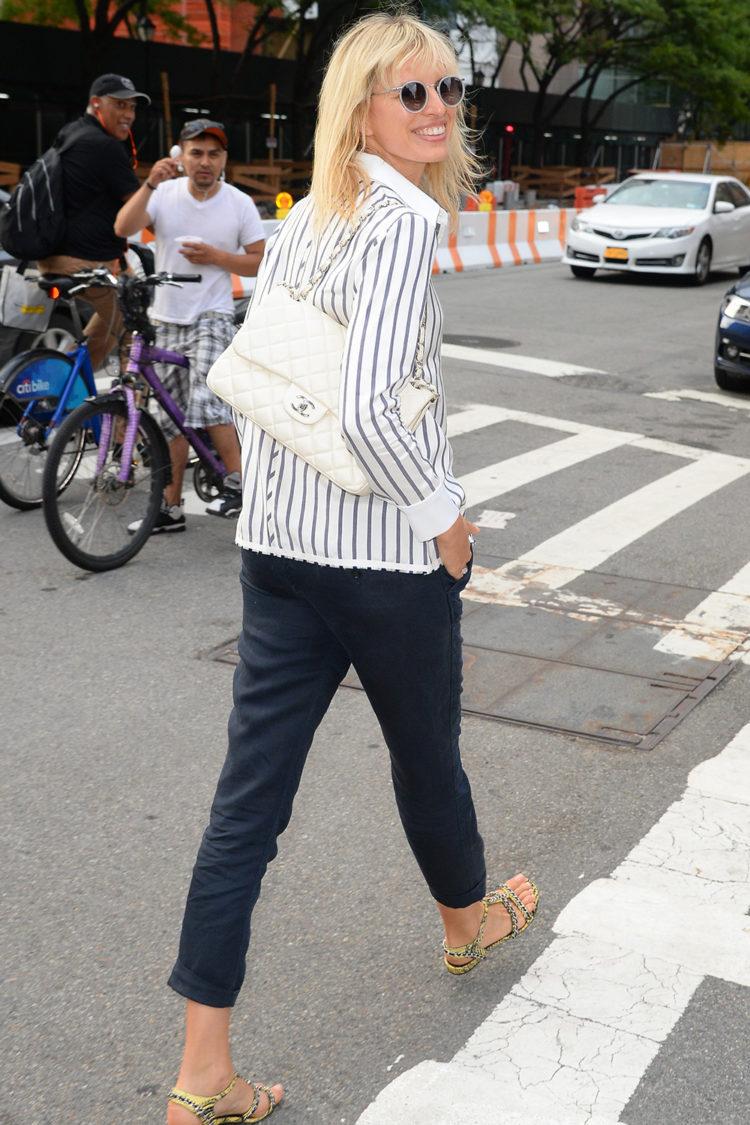Karolína Kurková is seen walking in Soho on July 11th in New York City.