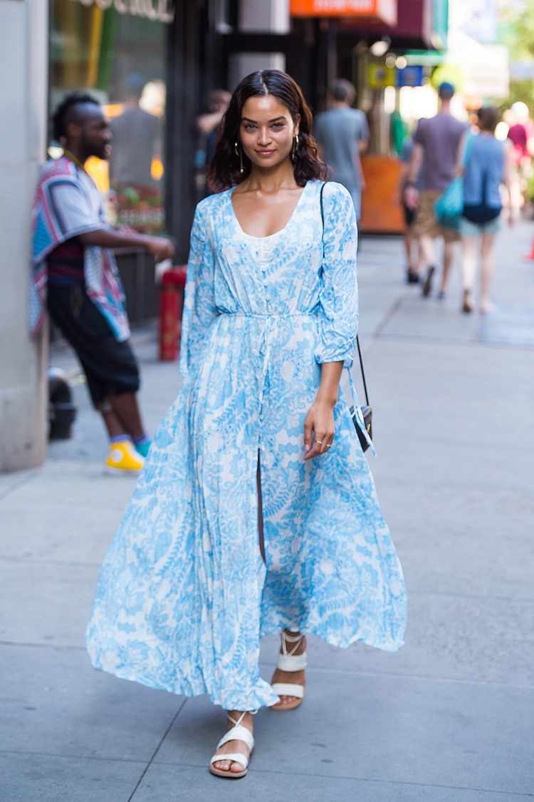 Model Shanina Shaik spotted in Midtown New York City in this summery number.