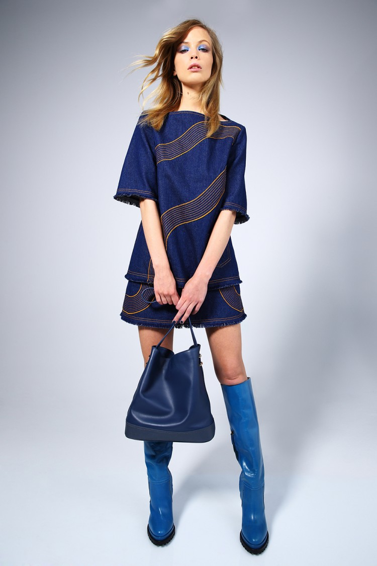 Karen Walker Lightyear Top $355, Lightyear Skirt $355, Benah for Karen Walker Bailey Hobo Bag $555 and Joanna Knee Boot $590