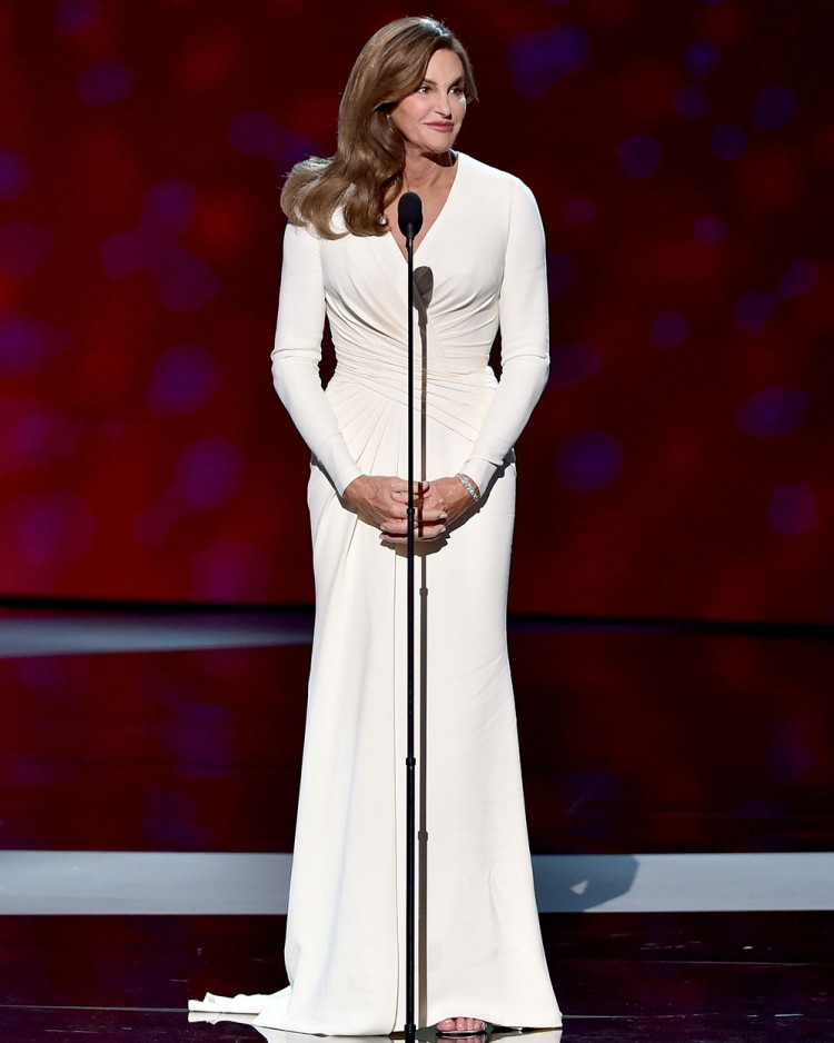 Caitlyn Jenner, wearing Atelier Versace styled by Angelina Jolie's stylist Jen Rade, accepts the Arthur Ashe Courage Award onstage during The 2015 ESPYS at Microsoft Theater in Los Angeles. Photo / Getty Images