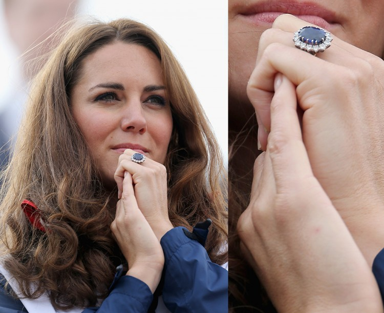 The Duchess of Cambridge's sapphire and diamond engagement ring is one of the most recognisable in the world, having famously belonged to her mother-in-law, the late Princess Diana. Photo / Getty Images