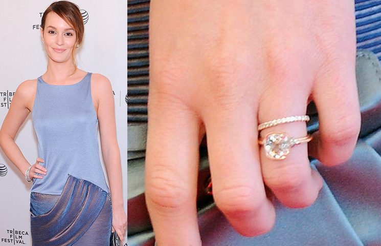 Leighton Meester and Adam Brody's engagement and marriage brought together two of our favourite TV characters EVER (Leighton played Blair Waldorf on Gossip Girl while Adam was The OC's lovable Seth Cohen). Adam proposed with this bezel-set 4-carat cushion-cut diamond in a rose-gold setting. Photo / Getty Images