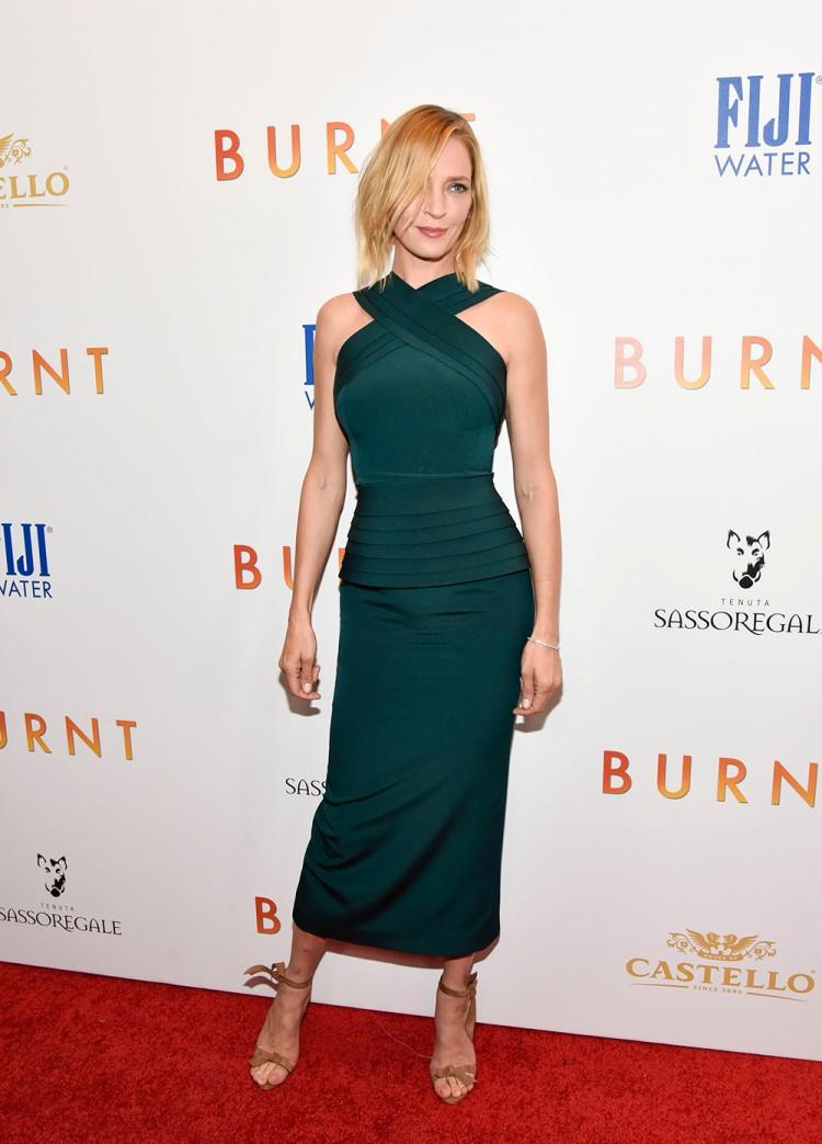 Uma Thurman in a custom Brandon Maxwell dress at the Burnt premiere in New York City.