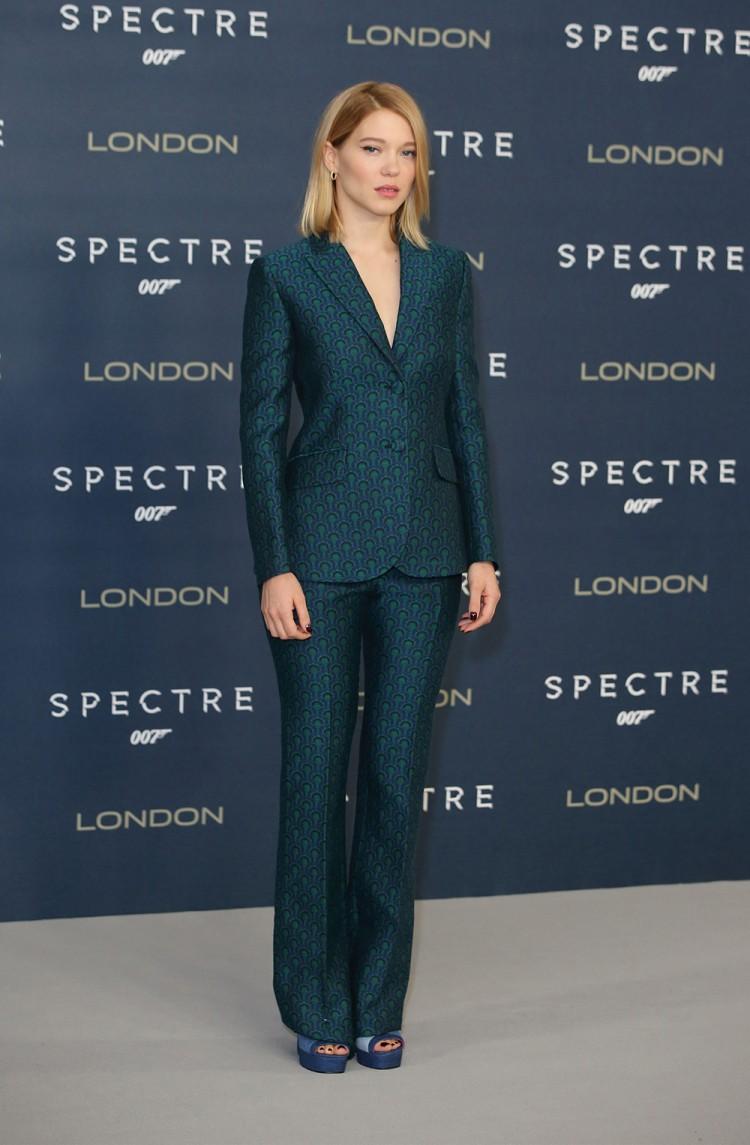 Lea Seydoux wears a tailored Miu Miu suit to the Spectre photocall in London.