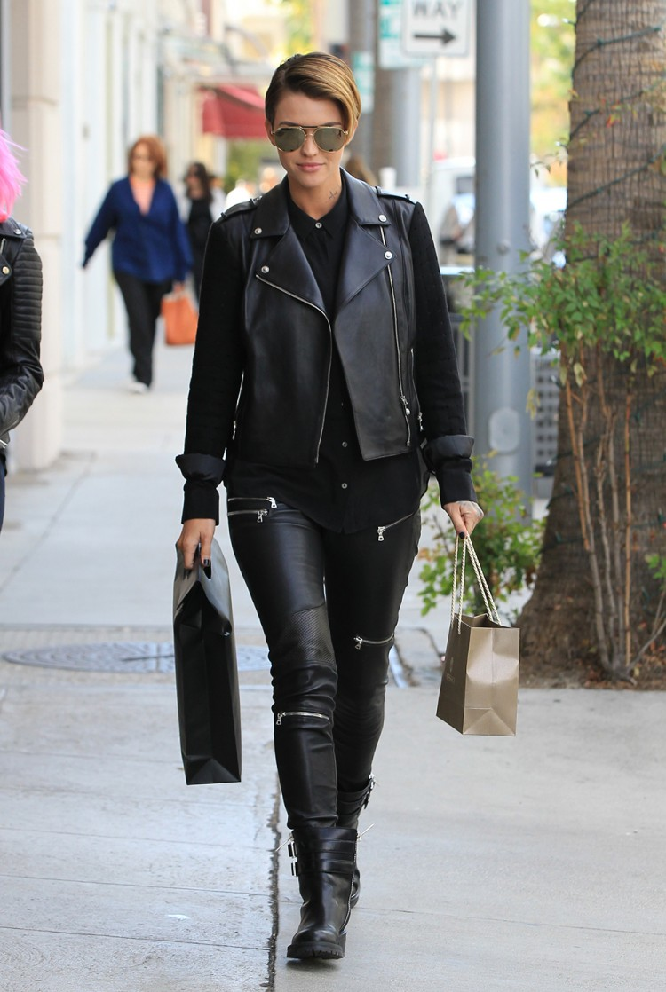 Forget double denim, Ruby Rose does double leather while running errands in LA.