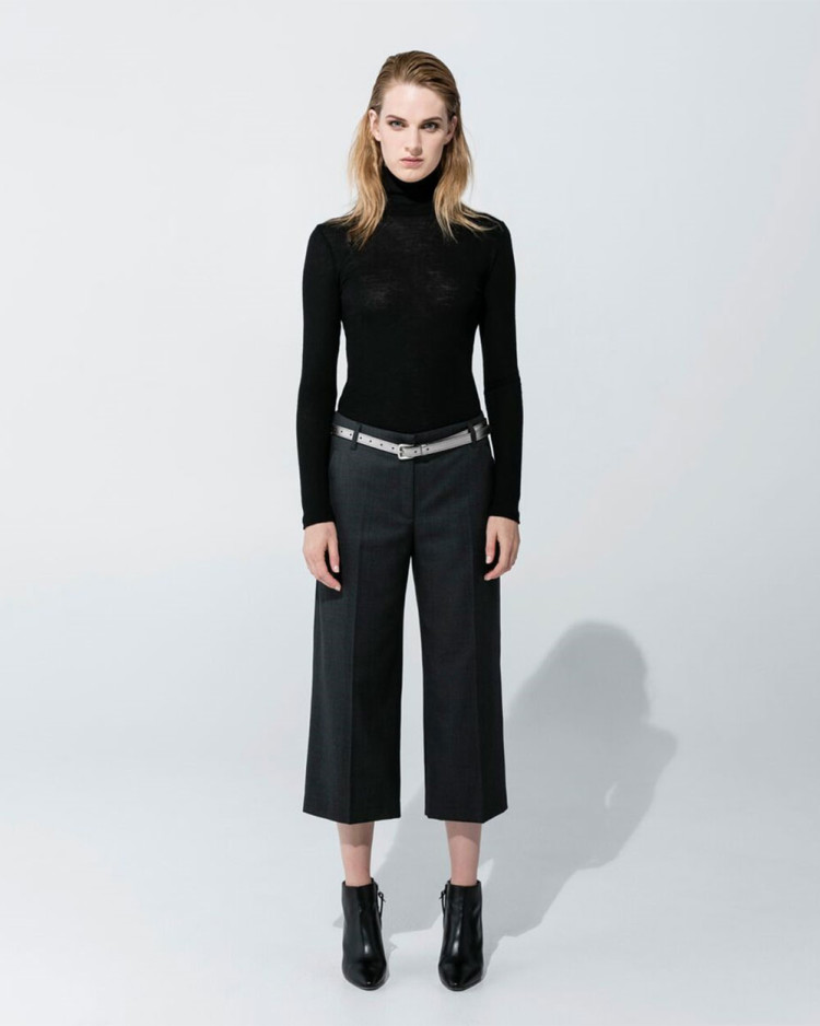 Wool Poloneck – Black, Wool Culottes – Pewter