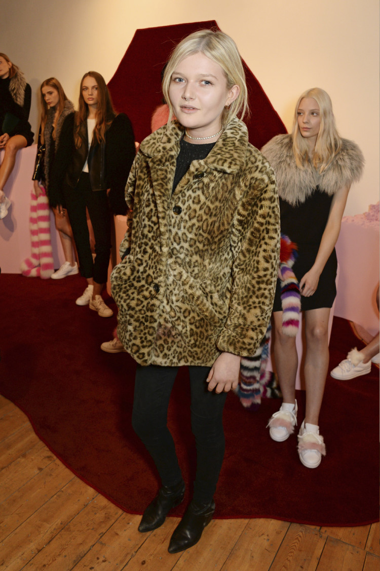 Channeling her inner Kate Moss in a leopard coat at the Charlotte Simone AW16 presentation at London Fashion Week.