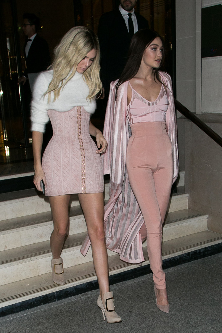 Looking pretty in pink after the Balmain show at Paris Fashion Week, March 2016.