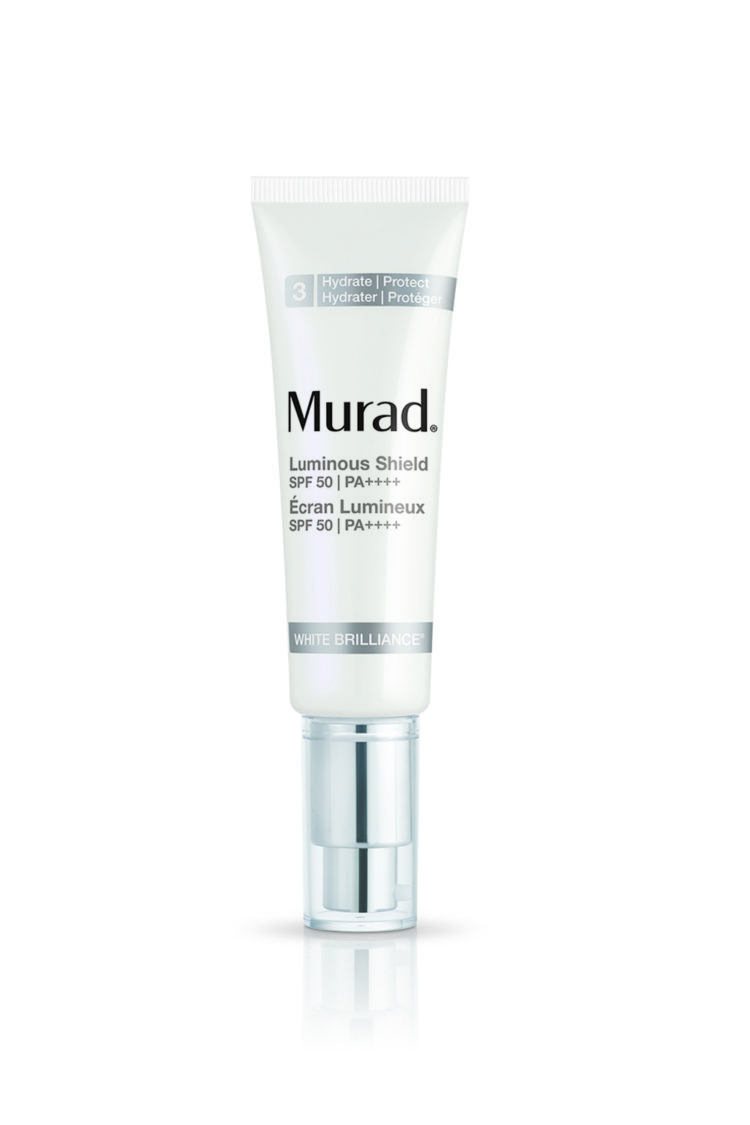 The protector: A sunscreen that evens skin tone, diffuses lines as well as protecting it from further UV damage with a generous sun protection factor, Murad Luminous Shield SPF50, $159, does it all