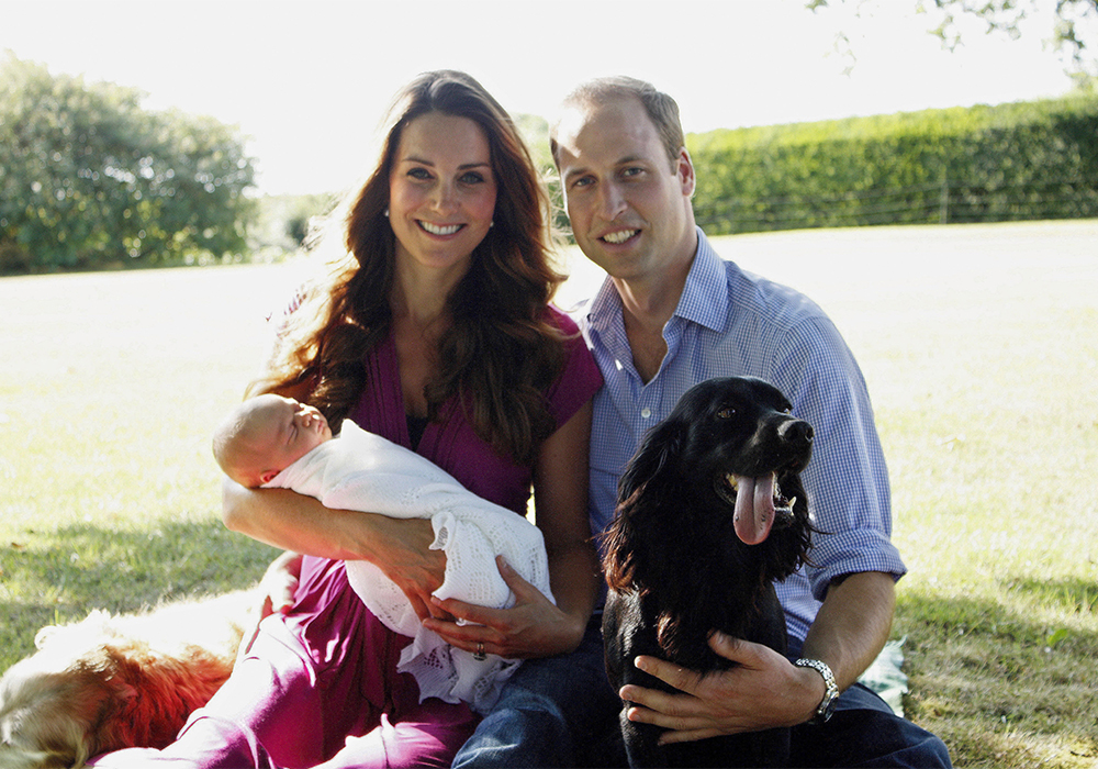 The Cambridge's first official family photo, taken by Kate's father Micheal Middleton at Kate's family home in Bucklebury in August 2013.