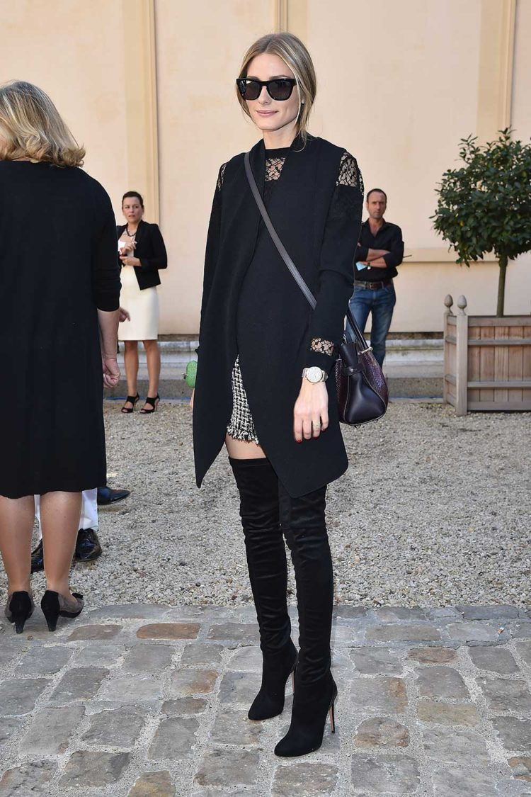 OP does over-the-knee boots at Paris Fashion Week in 2014.