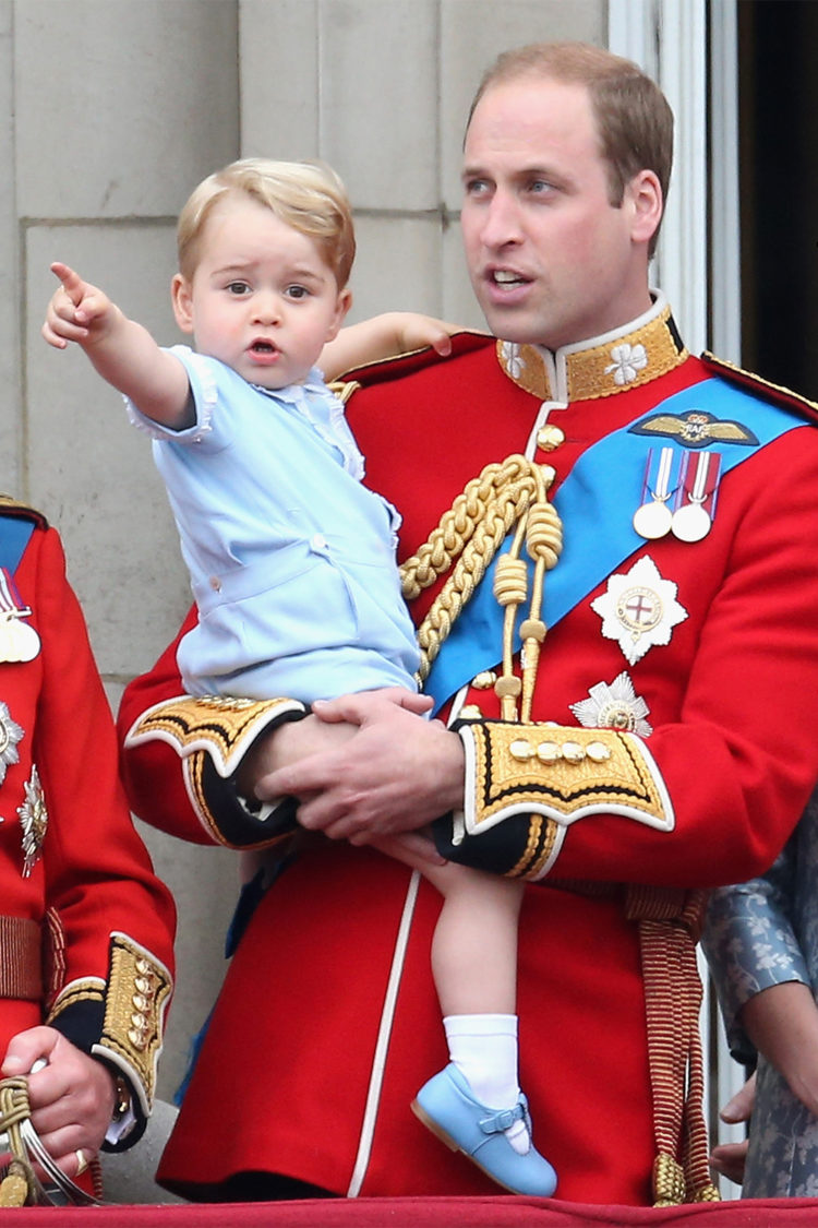 On the balcony of Buckingham Palace with his father Prince William during the Queen's 90th birthday celebrations on June 13, 2015.