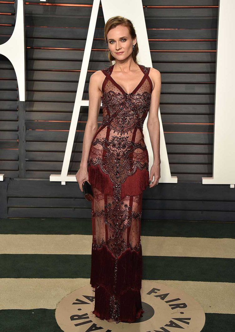 Diane Kruger in Reem Acra at the 2016 Vanity Fair Oscars party.