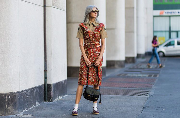 A guest wearing a military button shirt and dress outside Ferragamo during  Milan Fashion Week SpringSummer 13752ece0e