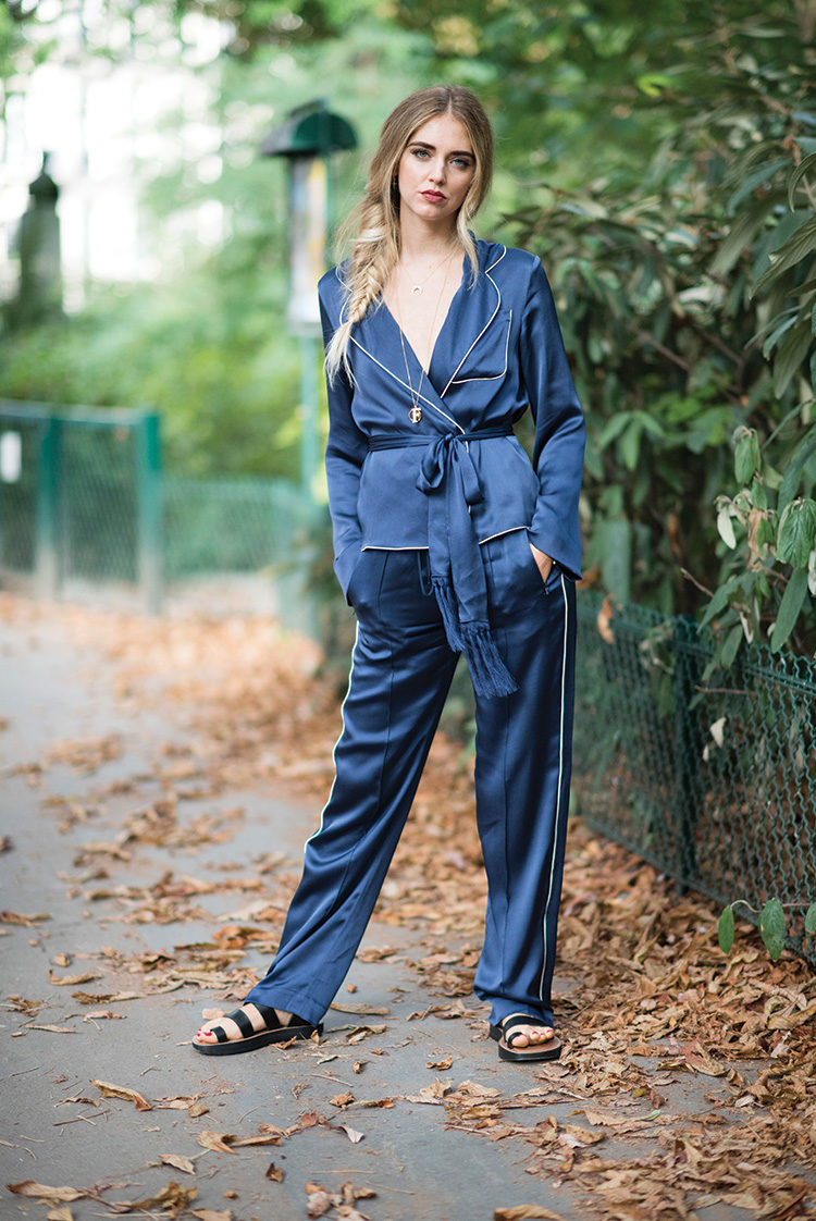 Chiara Ferragni is wearing Chloe pants and top and shoes from Celine in the streets of Paris before the Chloe show during Paris Fashion Week SpringSummer 2017 on September 29, 2016