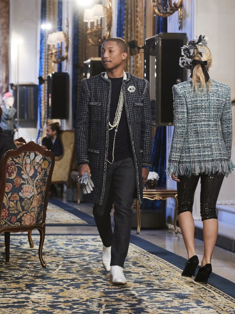 Pharrell Williams on the runway at Chanel's pre-fall 2017 collection at The Ritz