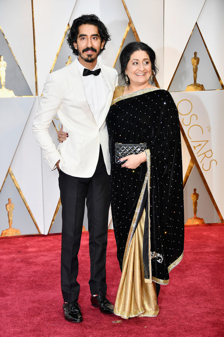 Dev Patel and his mother.