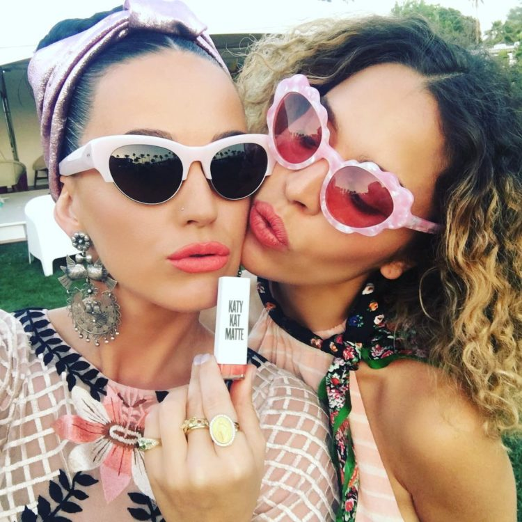 Katy Perry and Cleo Wade at Coachella 2016.