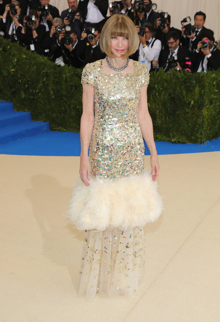 Anna Wintour wearing a custom Chanel dress by Karl Lagerfeld inspired by the house's recent Spring 2017 Haute Couture.