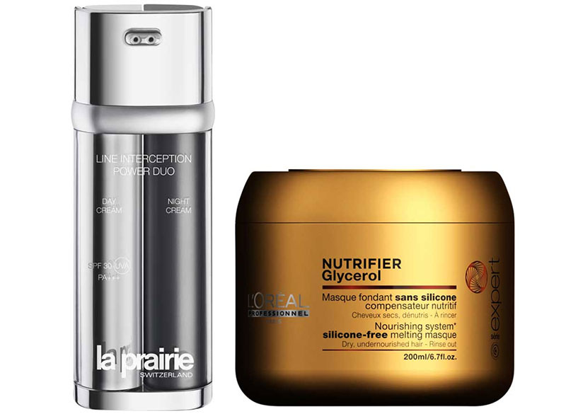 La Prairie Line Interception Power Duo, $490; L'Oréal Professionnel Série Expert Nutrifier Glycerol Masque, $34.