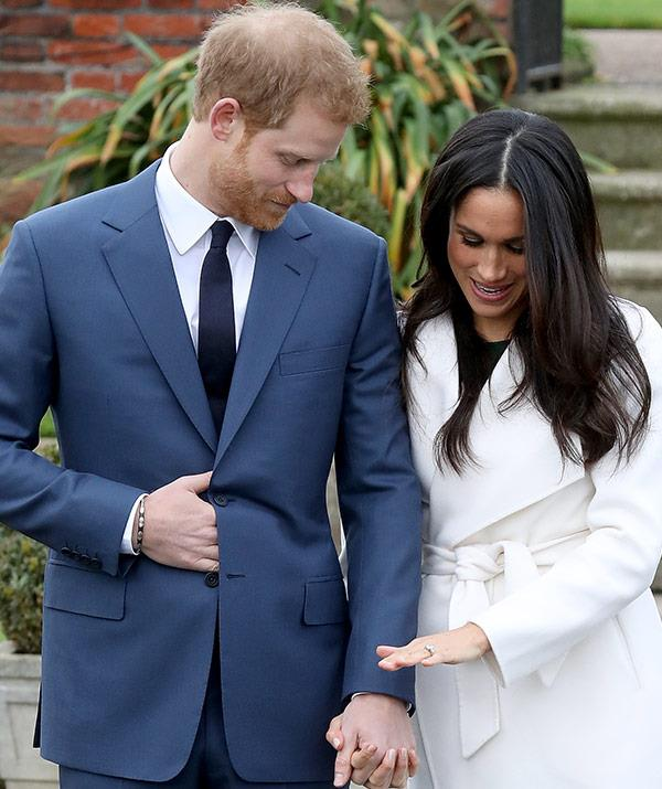 Meghan Markle and Prince Harry with engagement ring