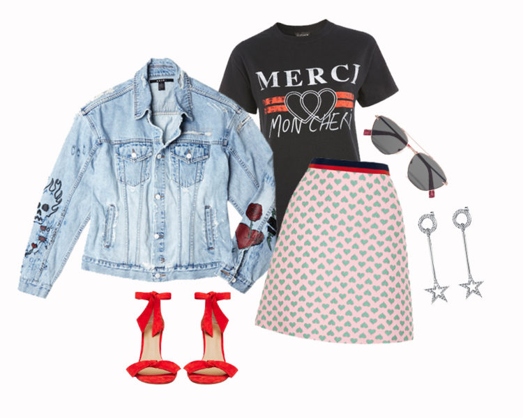 Rock chic Whether you're keeping it casual this year, or bound for a relaxed BBQ on the deck with friends, this outfit will be a hit. I mean, the T-shirt literally translates to 'thank you, my darling', your shoes look like gifts with their ribbons wrapped around the ankles and there's love hearts printed on the skirt. If that doesn't express the meaning of Christmas, help, nothing does. Ksubi super fink oversized jacket $299; Topshop T-shirt $31; Gucci mini skirt $1,970; Elizabeth and James sunglasses $275; Seed Heritage heels $220; F + H earrings $199