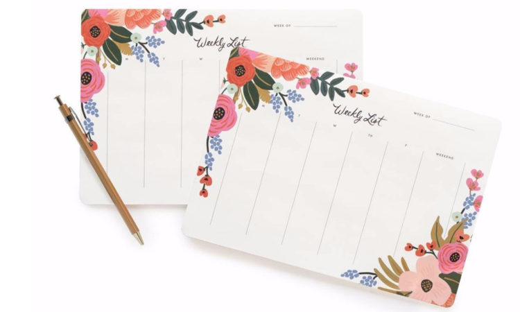 Weekly Deskpad, Lively Floral $29 from paperplanestore.com