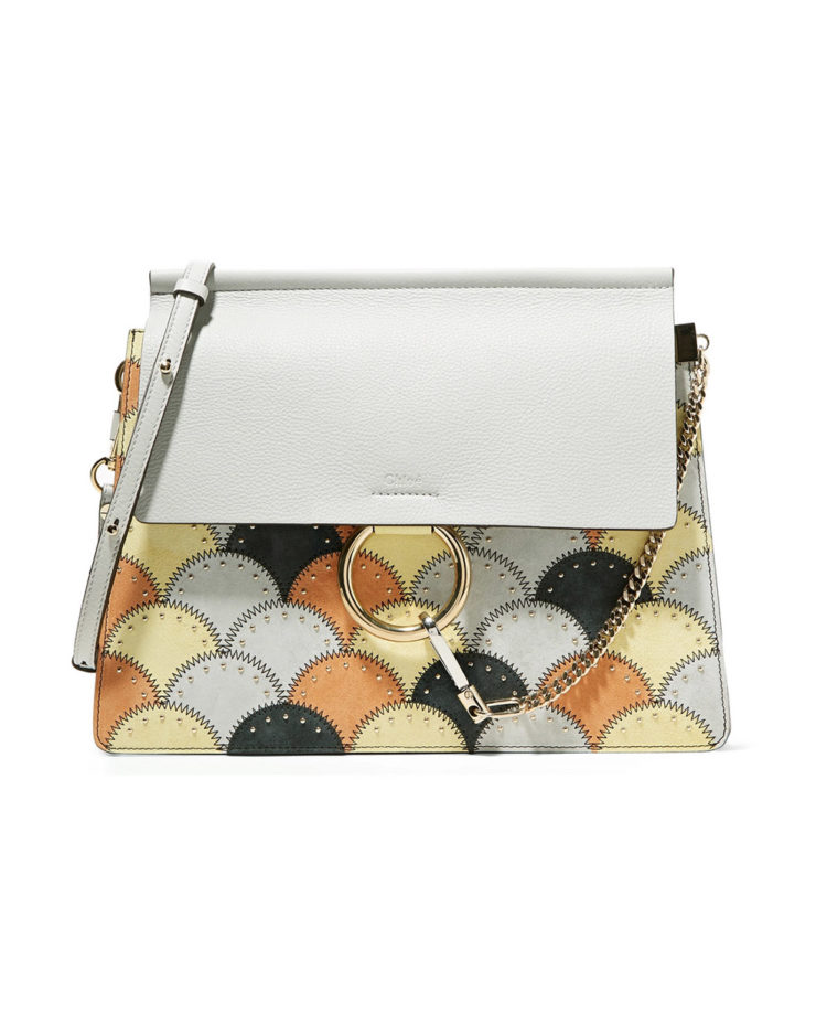 CHLOÉ Faye studded medium patchwork leather and suede shoulder bag $2,239