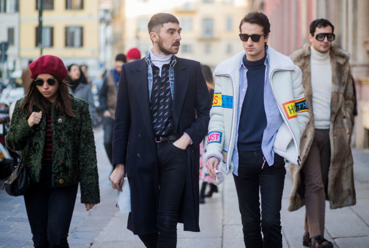MILAN, ITALY - JANUARY 14: Guests seen outside MSGM during Milan Men's Fashion Week Fall/Winter 2018/19 on January 14, 2018 in Milan, Italy. (Photo by Christian Vierig/Getty Images)
