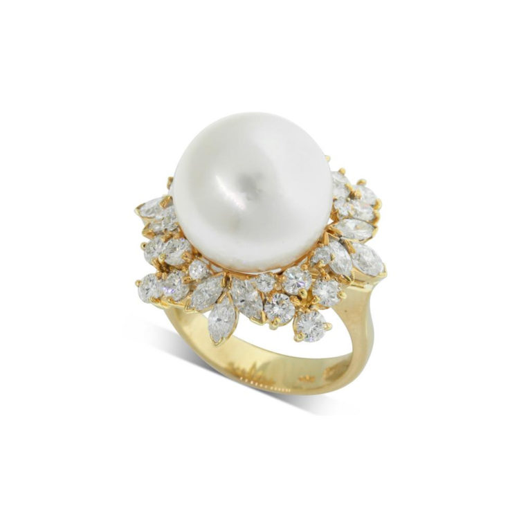 Walker & Hall Vintage 18ct White Gold South Sea Pearl & Diamond Ring, $11,500