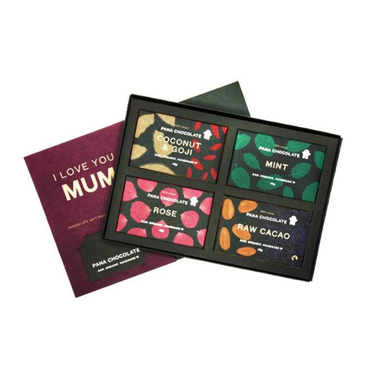 Chocolate Our pick: Pana Chocolate 'I Love You Mum' Gift Box, $38.90 from Natural Things