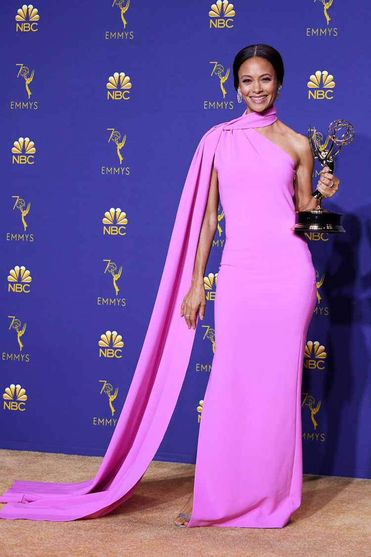 LOS ANGELES, CA - SEPTEMBER 17: Outstanding Supporting Actress in a Drama Series Thandie Newton poses in the press room during the 70th Emmy Awards at Microsoft Theater on September 17, 2018 in Los Angeles, California. (Photo by Steve Granitz/WireImage)