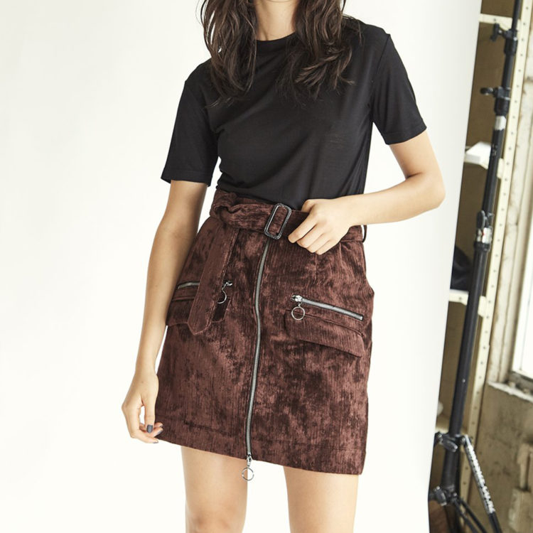 Wynn Hamlyn Earle velvet mini skirt, $325