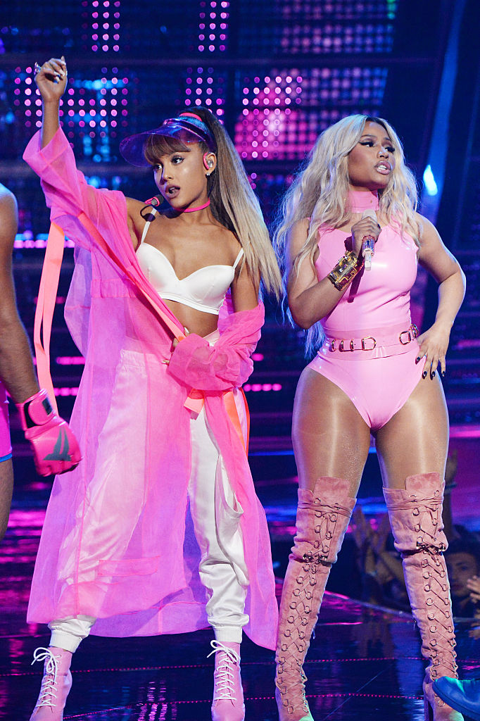 NEW YORK, NY - AUGUST 28: Ariana Grande and Nicki Minaj perform onstage during the 2016 MTV Video Music Awards at Madison Square Garden on August 28, 2016 in New York City. (Photo by Jeff Kravitz/FilmMagic)