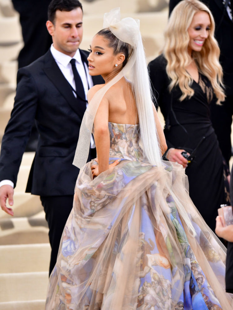 NEW YORK, NY - MAY 07: Ariana Grande attends the Heavenly Bodies: Fashion & The Catholic Imagination Costume Institute Gala at The Metropolitan Museum of Art on May 7, 2018 in New York City. (Photo by James Devaney/GC Images)