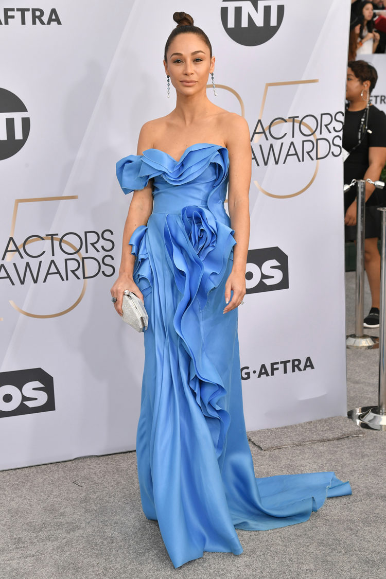 Mandatory Credit: Photo by Rob Latour/REX/Shutterstock (10072501gb) Cara Santana 25th Annual Screen Actors Guild Awards, Arrivals, Los Angeles, USA - 27 Jan 2019 Wearing Ermanno Scervino