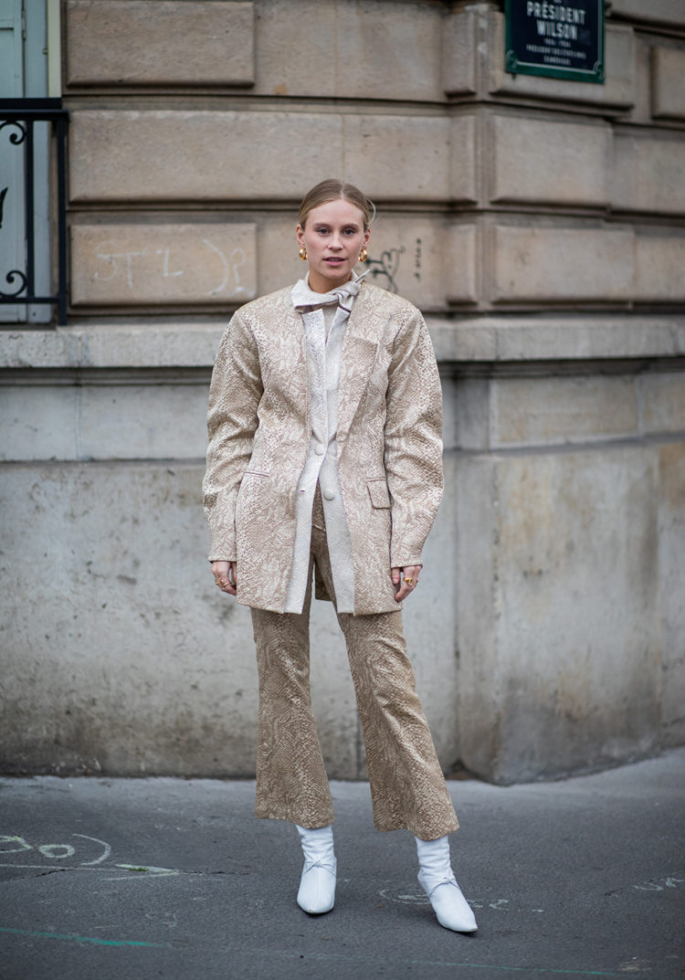 PARIS, FRANCE - MARCH 01: Tine Andrea is seen wearing jacket and flared pants during Paris Fashion Week Womenswear Fall/Winter 2019/2020 on March 01, 2019 in Paris, France. (Photo by Christian Vierig/Getty Images)