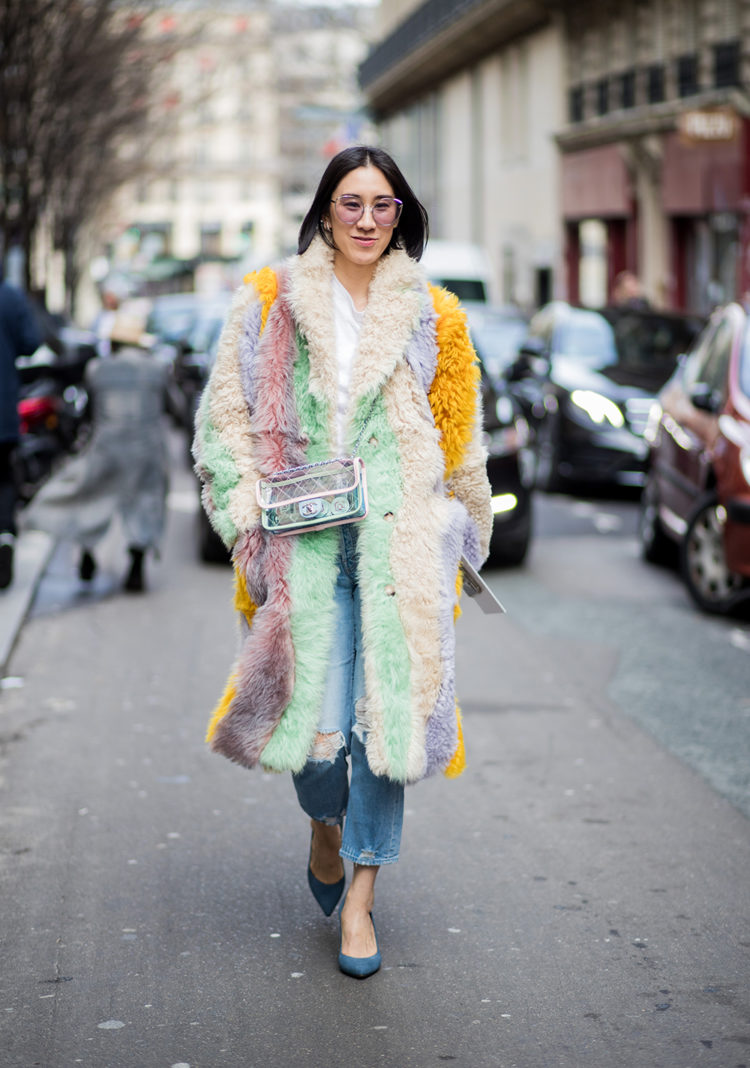 PARIS, FRANCE - MARCH 05: A guest is seen outside Sacai during Paris Fashion Week Womenswear Fall/Winter 2018/2019 on March 5, 2018 in Paris, France. (Photo by Christian Vierig/Getty Images)