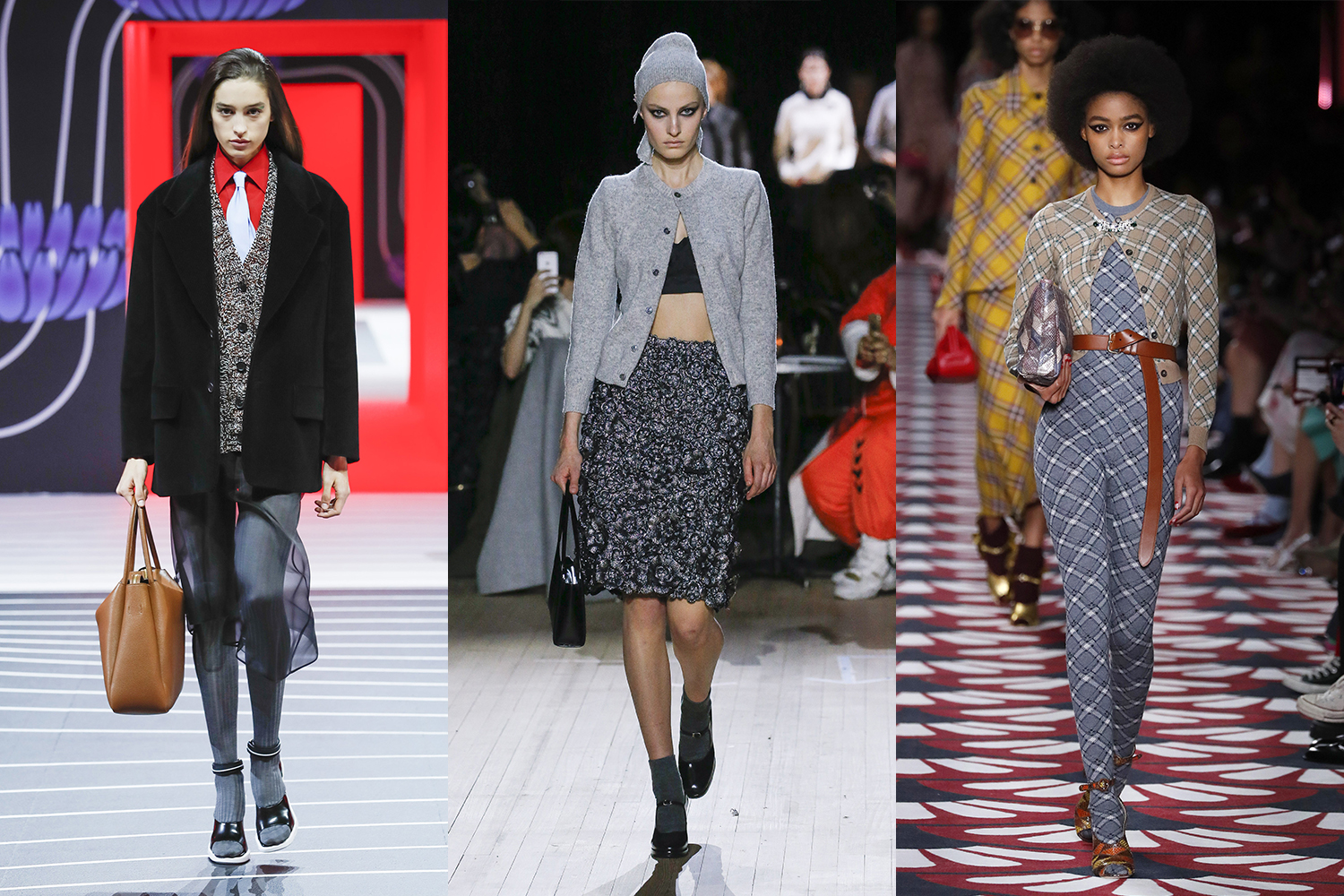Entwined in the resurgence of ladylike style, models have been wrapped in cardigans this season.